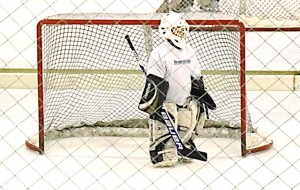 Youth hockey goalie